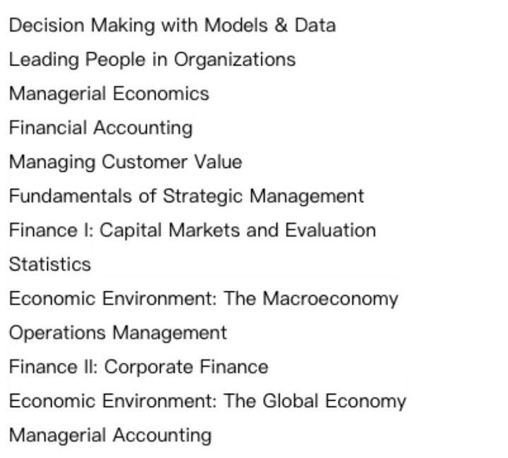 多伦多大学MBA核心课程